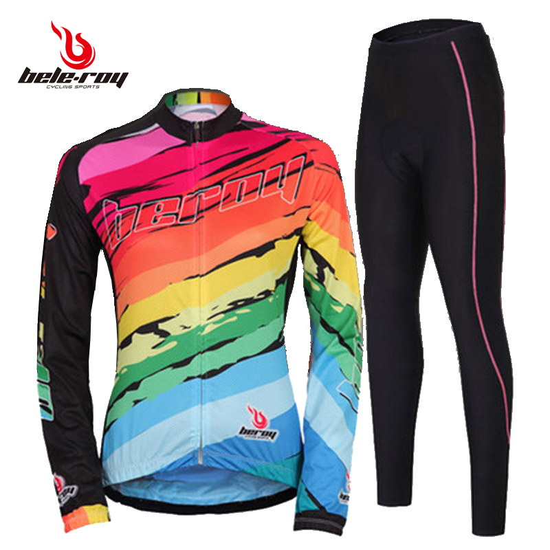 Women's cycling suit long sleeve suit spring and summer cycling suit mountain bicycle clothing fast-drying breathable road bicycle clothing