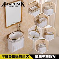 Small household European-style mini ceramic wall washbasin washbasin washbasin washbasin triangular impotence bathroom cabinet hanging basin