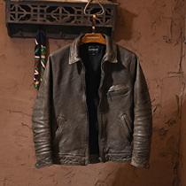 Muhlan Road head sheepskin to do old-fashioned rip-off mens leather leather clothing trim short trendy mens leather jacket