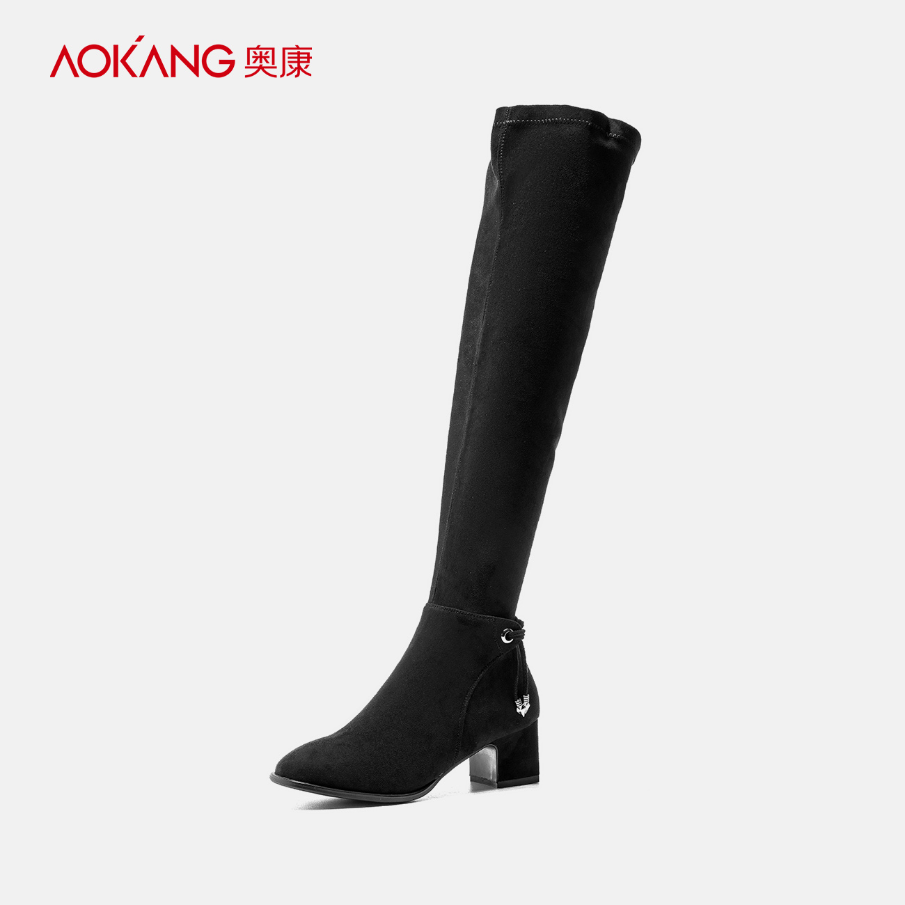 Aokang women's shoes in winter warmth trend round-toed thick-heeled Boots Fashionable long barrel over knee boots elastic boots