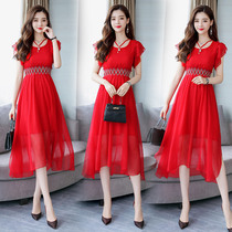 Spring and summer red show thin banquet wedding dress