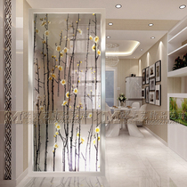 Decorative Art Glass gateway Background Wall Branch Partition screen simple European carving process tempered scrub border