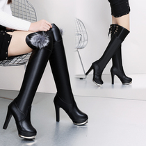 2016 winter leather high-heeled fine with knee-length women boots Europe and the United States waterproof platform sexy thin boots were thin high boots