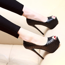 Early Spring 2018 Super High-heeled Shoes 14cm Night Waterproofing Table Fine-heeled Professional Black Girl Baitie Fishmouth Single Shoe Girl