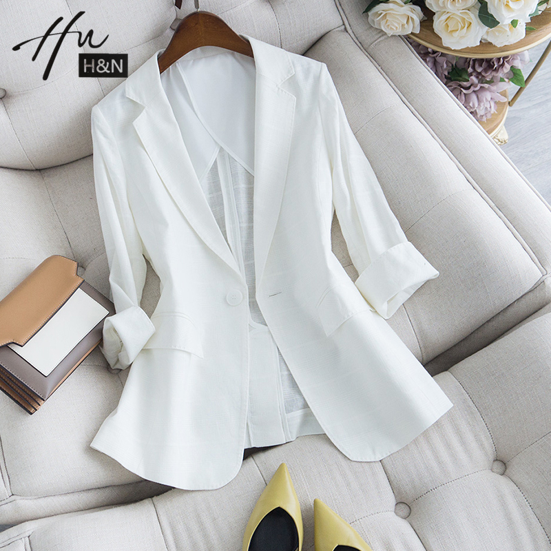 Professional suit jacket women thin summer small body slim figure thin white seven-sleeve casual small suit womens top