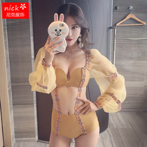 Bubble Sleeve Bikini Womens small breasts gather high waist retro sexy conjoined bikini shade hot spring bathing suit