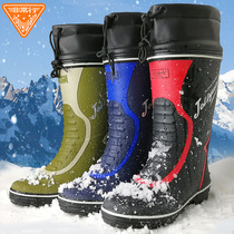 Rain shoes mens high barrel autumn and winter warm and fluffy water shoes wear galoshes waterproof non-slip fashion trend fishing boots