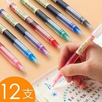 白雪直液式走珠笔彩色中性笔速干学生用黑色红蓝绿粉水性直液笔直流套装做笔记专用手账碳素针管签字笔君颜色