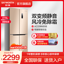 Skywiver 415 liter cross to open the refrigerator home variable frequency four open two doors cold frost-free BCD-415WP