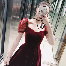 Ziqing red velvet dress female spring high waist flounced princess sleeves European and American ladies in the A word dress