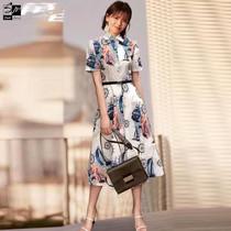 Liu Tao star with the same dress high-end fashion commuter color lapel dress printed shirt dress womens summer