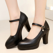 The high-heeled shoes black dress code Taiwan waterproof T model single shoes with leather shoes coarse shoes catwalk