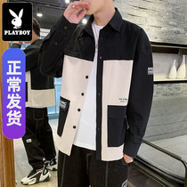 Playboy shirt mens long-sleeved Korean version of the trend of spring fashion clothing casual handsome inch clothing tooling shirt coat