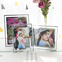 Glass photo frame 6 inch 7 inch 8 inch glass crystal frame decoration Desk pendulum seven inch photo frame