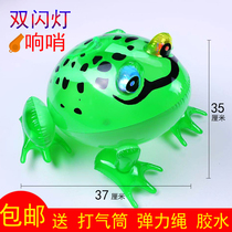 Inflatable Frog Glow Bouncing Childrens Toy Duck Pony Long Stick Night Market Stick Push Glitter Glow stick