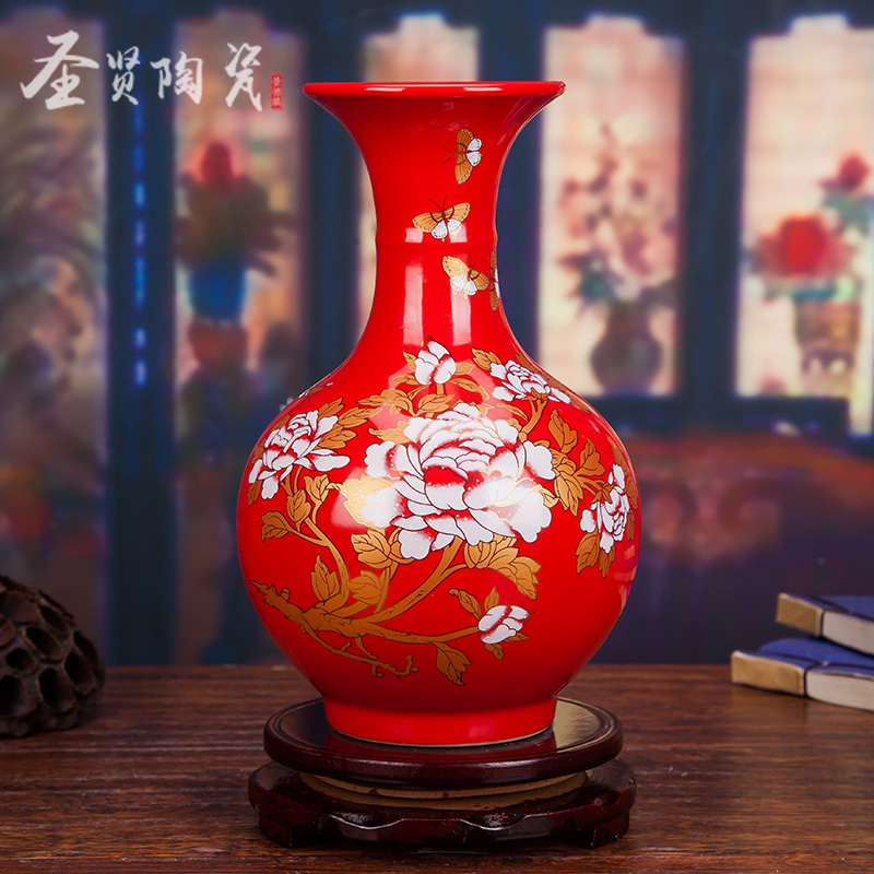 Jingdezhen Ceramics Brief Chinese Red Vase Modern Living Room Decoration Bedside Cabinet Handicraft Arrangement Wedding