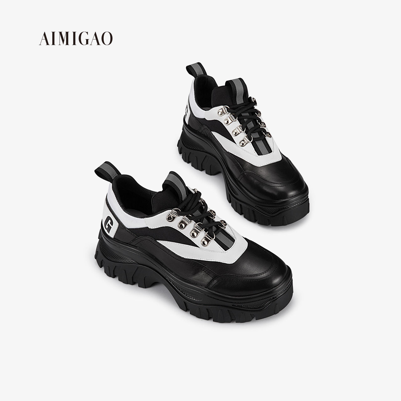 Ai Mi Gao 2018 autumn new leather thick-soled lacing increased casual shoes net red wild fashion women's shoes tide