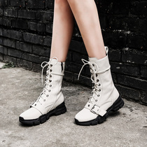 Thick leather plus velvet fashion personality lace motorcycle boots