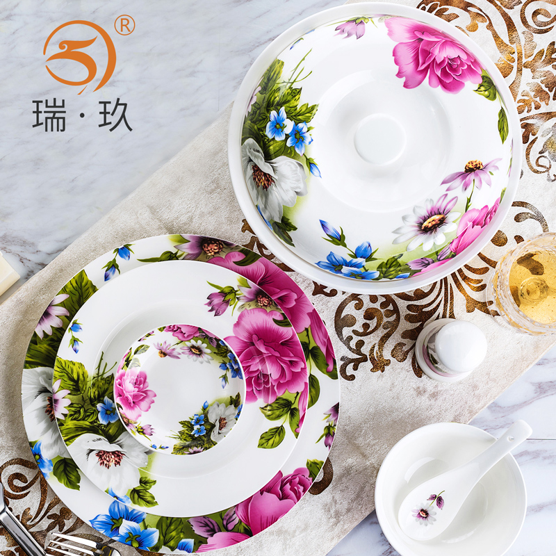 Tangshan Bone Porcelain Tableware Household Chinese Rice Bowl Plate Spoon Porcelain Soup Pot Fish Plate Free Matching