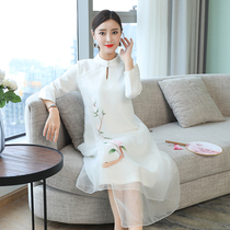 Hanfu female improved cheongsam organza long-sleeved dress ethnic womens autumn and winter Chinese style dress Zen tea service