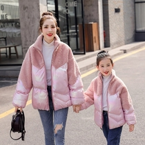 Parent-child winter 2019 Winter new lamb coat Korean network Red female cotton padded clothes children thick padded cotton