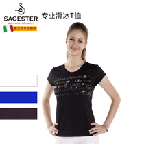 Supplies) Italy Sagester childrens female figure skating training suits short-sleeved T-shirt text with drill 038