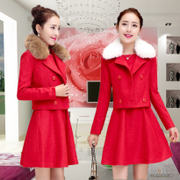 Autumn and winter clothing new bride toast wedding clothes wool tweed coat short dress wedding dress bound back