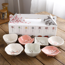 Hand-painted Japanese tableware ceramic dishes household oil dish sauce vinegar small plate Japanese seasoning snack dipping tray gift box