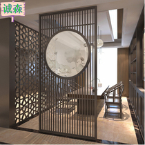 Screen living room Chinese simple partition modern bedroom solid wood Xuan Guan teahouse Hotel round fabric semi-permeable screen