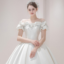 French satin wedding dress 2021 new bride main yarn temperament Palace style high texture trailing one word shoulder atmosphere