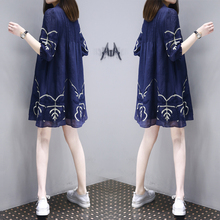 Cover belly dress Tibetan loose loose large size was thin in the long paragraph fat mm cotton retro A word doll skirt female summer
