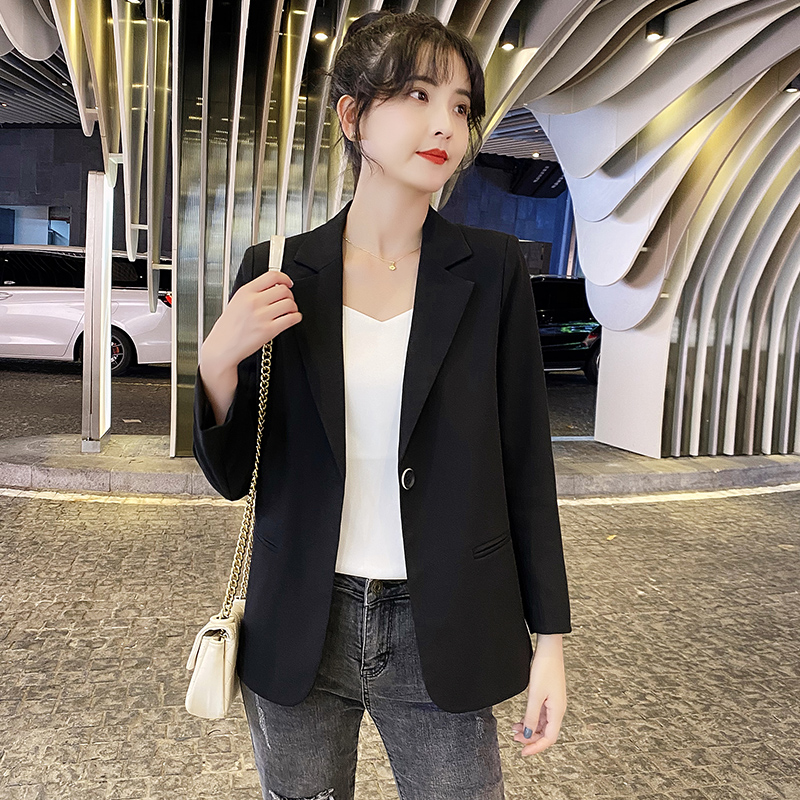 Black blazer female spring and autumn Korean version loose small short paragraph 2021 new casual thin section suit top