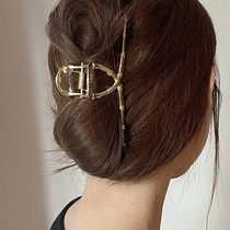 French temperament bamboo hairclip back of the head female grab clip large metal hair catch shark clip hair volume Net red Korea