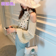 Korean Ling Autumn Fashion Chiffon Shirt Sequins New Type 2009 Loose Temperament Show Shoulder Top Tide