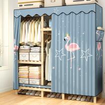 Simple tissu armoire en bois massif tissu Assemblée enfants Accueil chambre cabinet simple moderne location Chambre avec penderie
