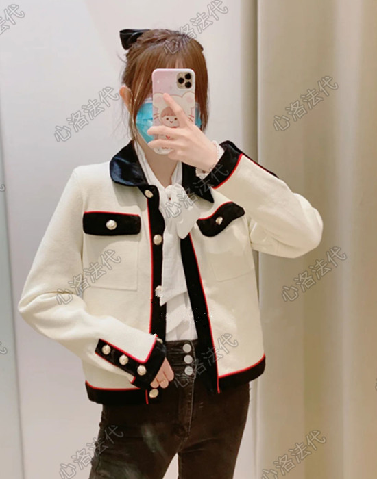 French maje 21 spring summer small fragrance hit color knitted cardigan top jacket MFPCA00166