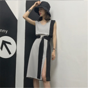 2017 summer new Korean fashion loose thin stripes in the long all-match hem slit dress female
