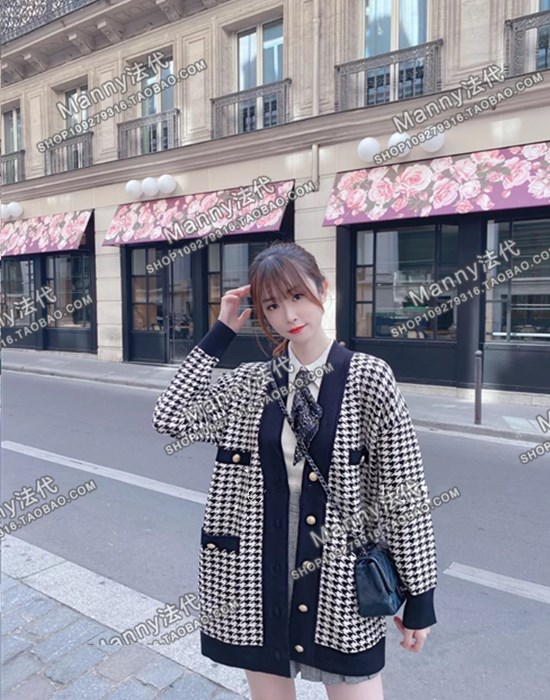 French sandro 20 autumn winter chiswine V-neck loose knitted cardigan jacket SFPCA00310