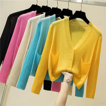 Short jacket women 2021 new summer ice silk knitted cardigan long-sleeved super fairy sun protection shirt thin shawl outside the ride