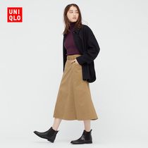 Uniqlo womens cotton flared skirt (early autumn skirt with belt mid-length new product) 439560
