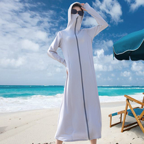 Sunscreen clothes womens coat 2021 new anti-UV long thin driving sunscreen shirt hooded ice silk sunscreen suit