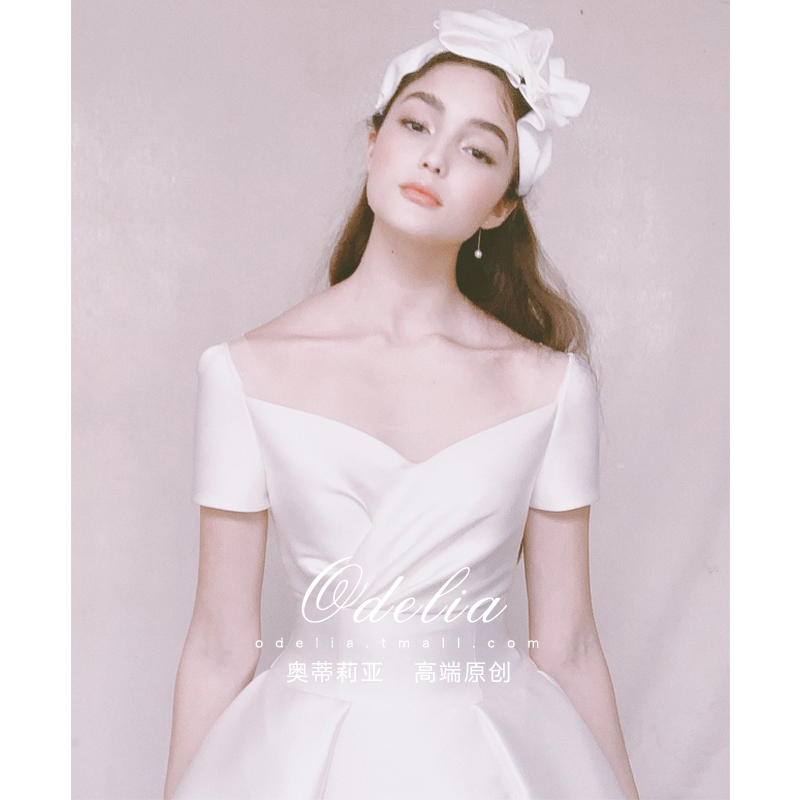 Odelia 201920 spring new sweetheart Vintage Hepburn style Satin simple light wedding dress female