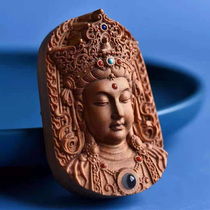 India Laoshan sandalwood old material Buddha brand wood carving Guanyin double-sided carving inlaid Baibao necklace projection pendant pendant