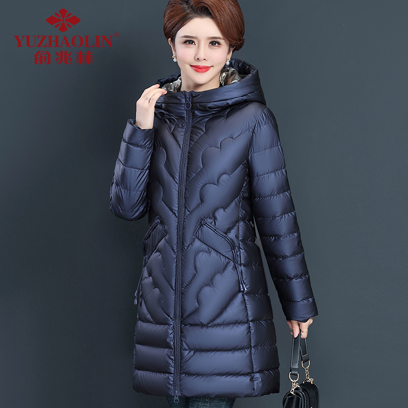 Middle-aged and elderly womens winter cotton coat in the long version of autumn and winter cotton clothing 2020 new mother cotton wool thickened 50 years old