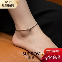 Grain sleep S925 Silver simple rough snake bone chain Bigfoot chain Mason Department temperament sexy ankle chain womens foot rope