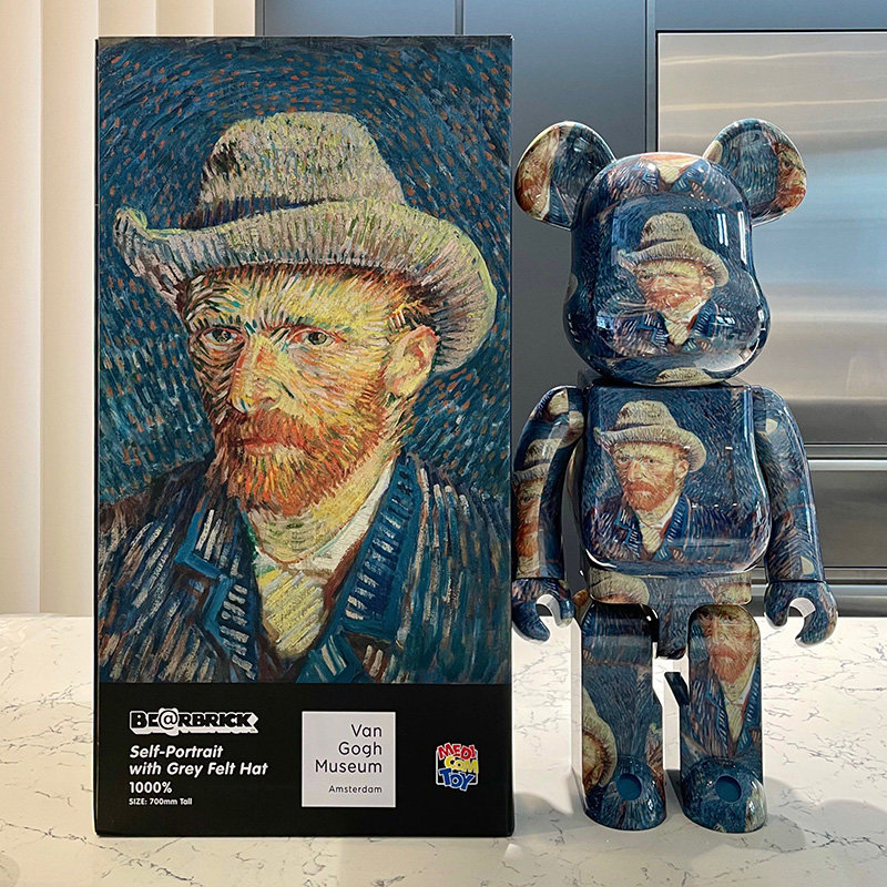 bearbrick400%new Qianqiu starry sky Van Gogh portrait violent bear building blocks Bear tide play hand office aberdeen blind box