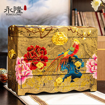 Pingyao lacquerware jewelry box handmade jewelry three gold layer high-end large capacity storage high-end Chinese style wedding gifts