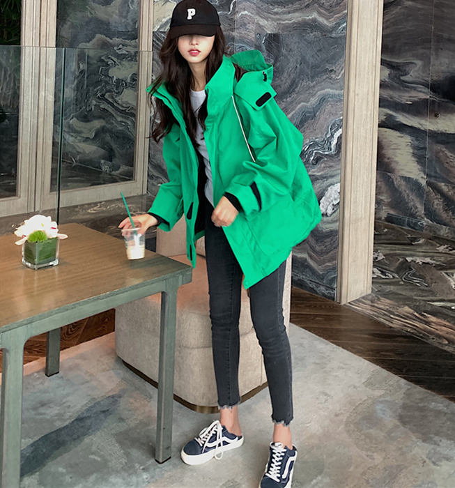 Shen Mengchen with the same green windshield hooded jacket oversized version of the cotton jacket storm jacket women