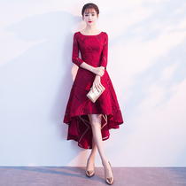 Wine red before short after long evening dress