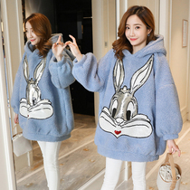 Maternity dress autumn and winter style blouse fashion long sleeve cartoon pregnant women sweater women in the long section tide mother out of the winter suit